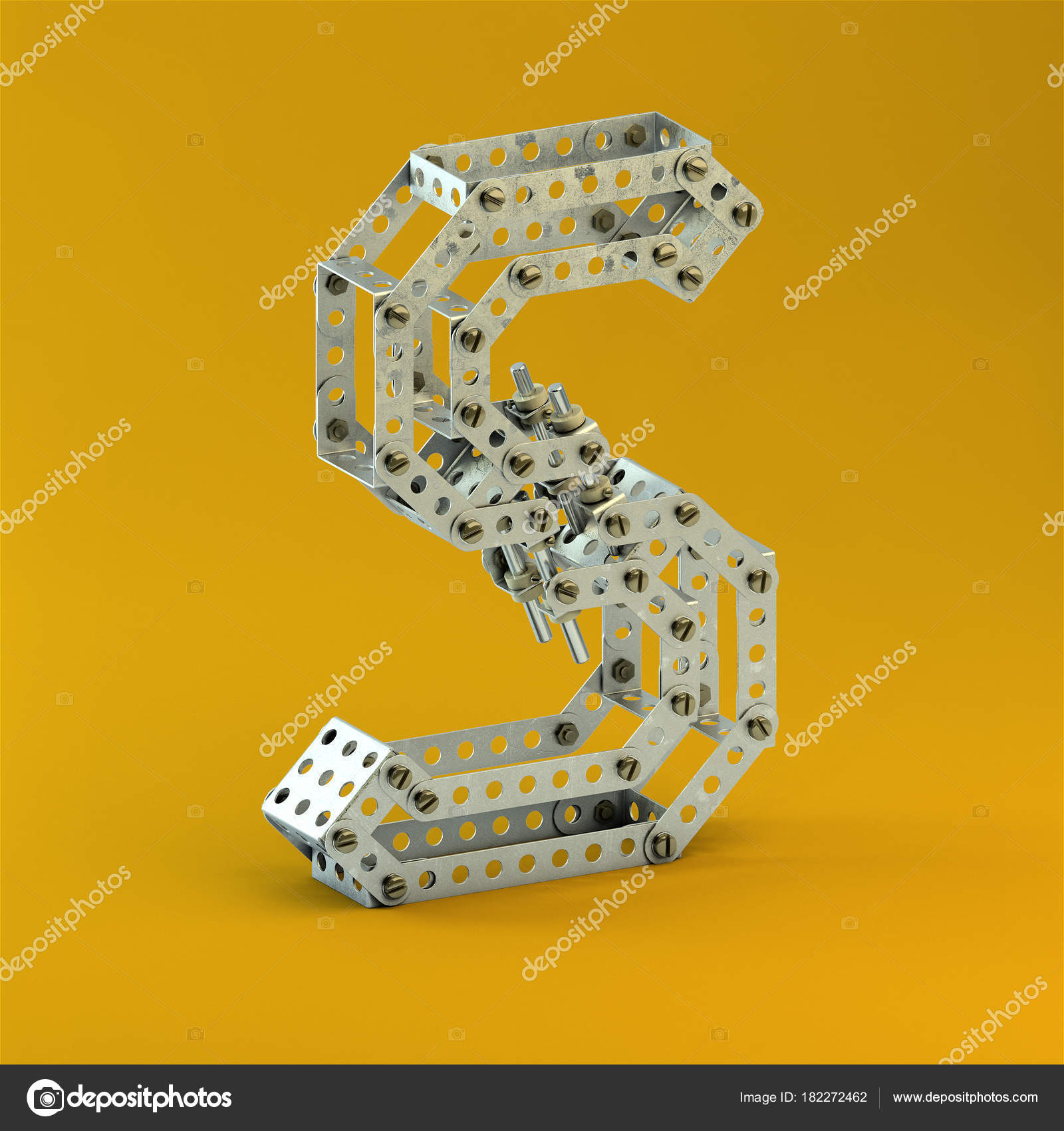Rendering Alphabet Letter Metal Constructor Style Old Advertising ...