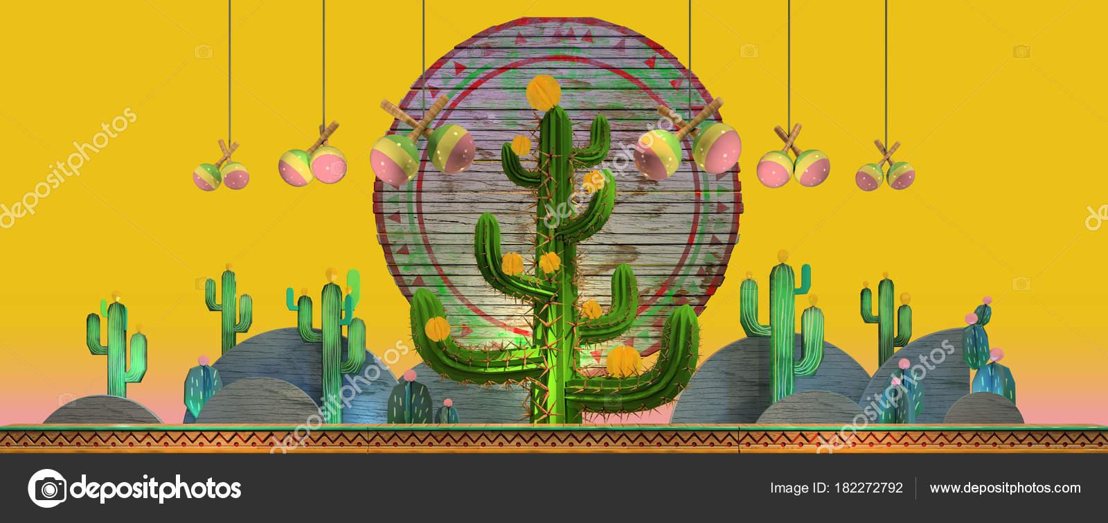 3c6c865de8739 Dibujos Animados Estilizadas Decoraciones Tema Mexicano Grandes Cactus Las  Colinas — Foto de Stock