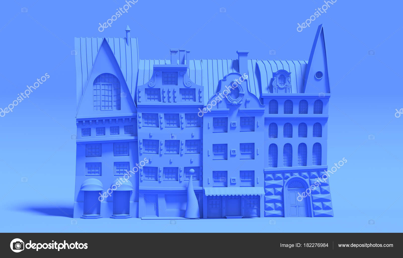 Rendering Cartoon European Houses Stylized Old Town Made