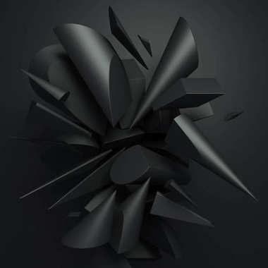 3d abstract render of geometric black cylinders on dark grey background