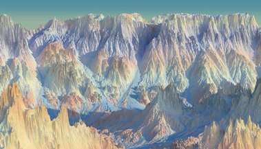 3d rendering of scenic landscape at sunrise on alien planet. Abstract Sci fi mountains with water.