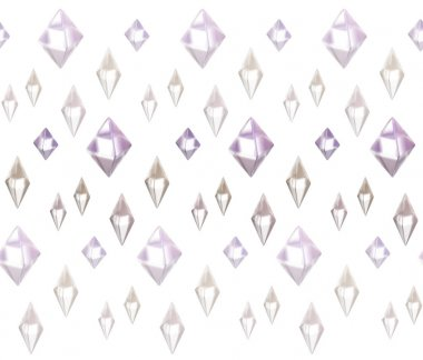 3d rendering. Sparkling reflective diamonds on a light background.  Geometric shapes rock crystals background. Seamless pattern.