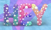3d render of word HEY on bright colorful background. Motion graphic style. Funny sculpt letters in polka dot