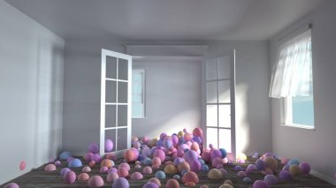 3d rendering of many colorful spheres pop up from floor. White sunny empty room without furniture. Wind through open windows. Pastel color variations. Balls scattered on the floor.