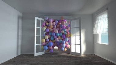 3d rendering of many colorful spheres fly in door opening. White sunny empty room without furniture. Wind through open windows. Pastel color variations.