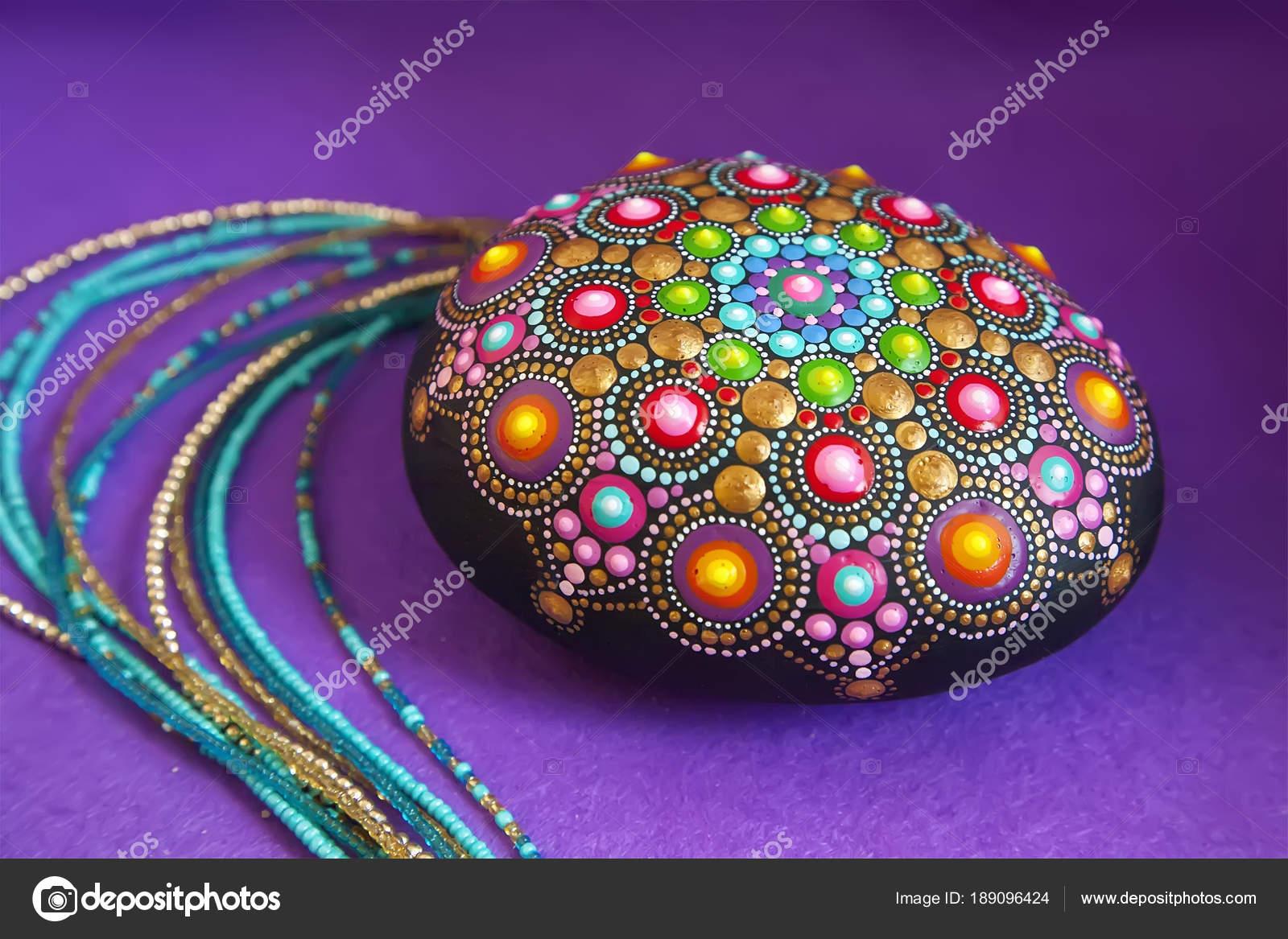 Mandala dots on rocks   Mandala dot painting colorful stone