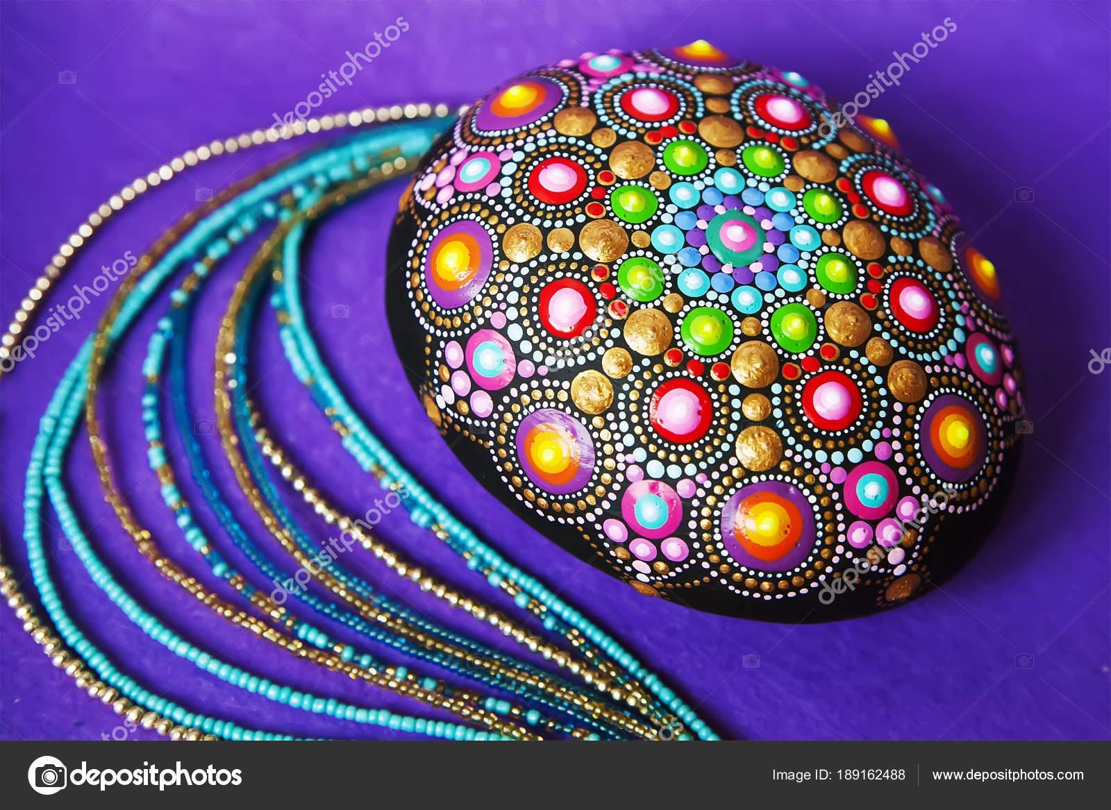 Mandala dot painting colorful stone — Stock Photo