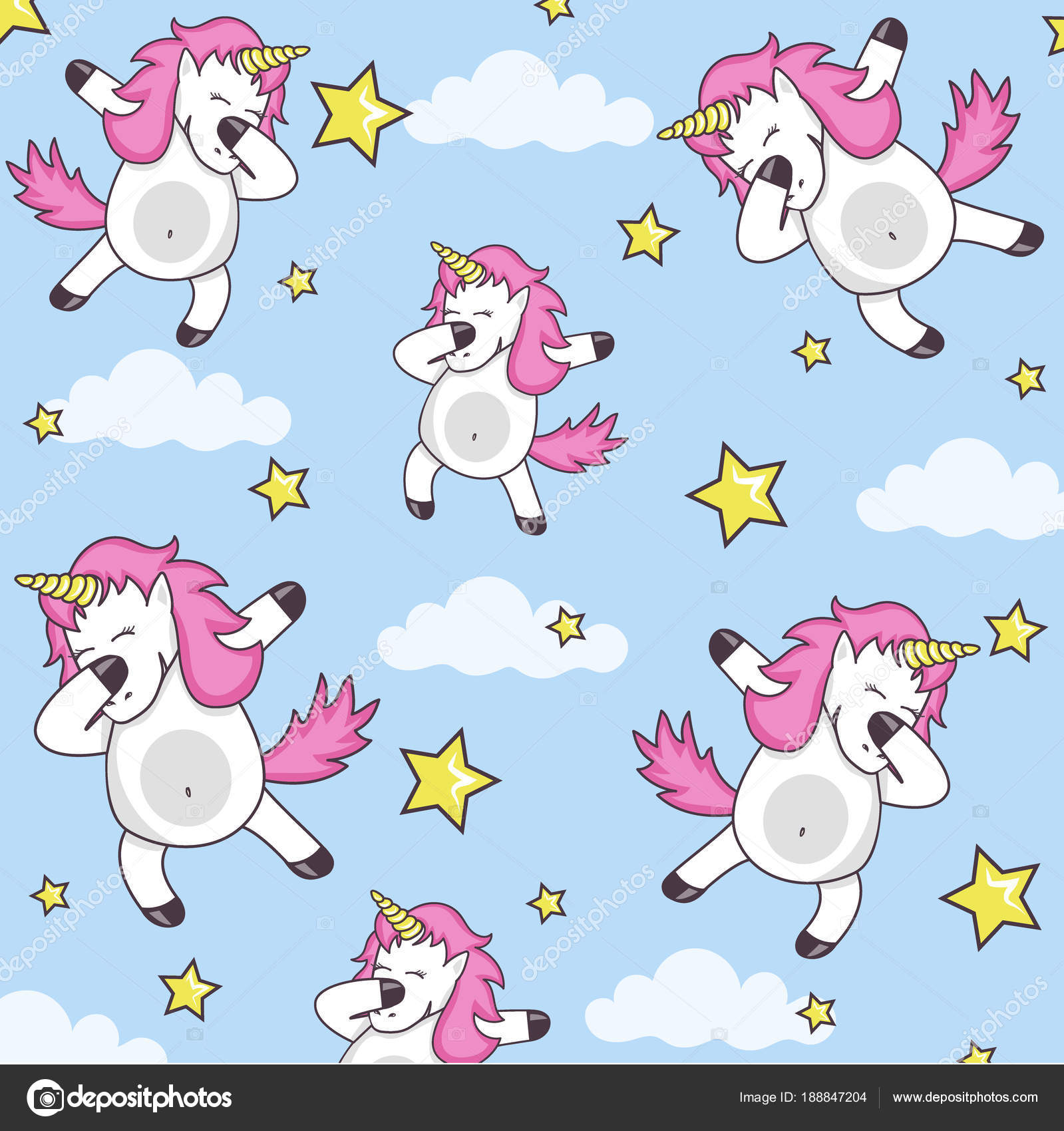 Vector pattern with cute unicorns clouds and stars magic background with little dabbing unicorns cute funny unicorn dancing dab vector cartoon