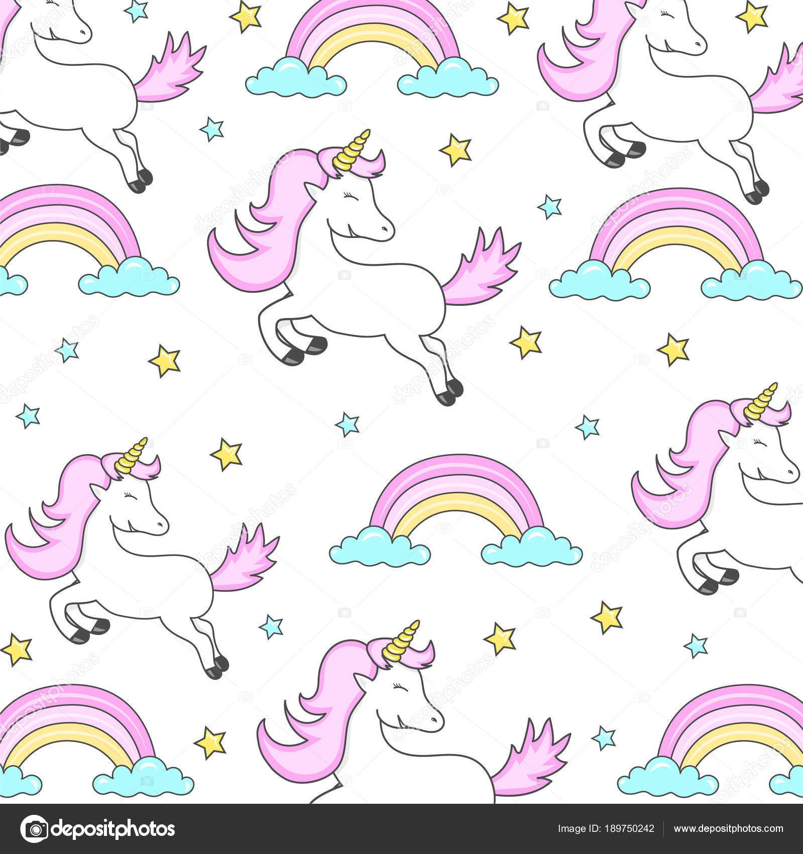 Papel regalo unicornio | Patrón Vector Con Lindos Unicornios Tarjeta ...