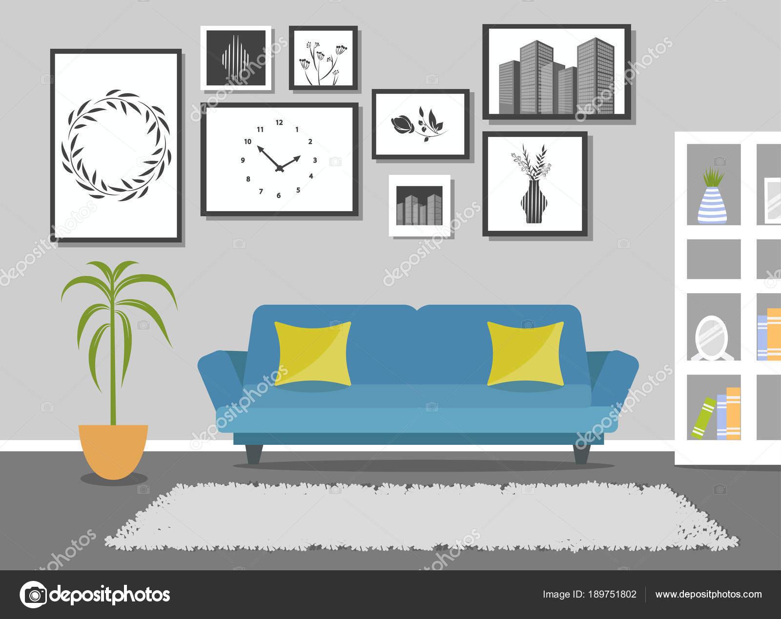 Modernes Design Wohnzimmer Interieur. Gestaltung Der Ein Gemütliches Zimmer  Mit Einem Sofa, Fenster Und Dekor Zubehör U2014 Vektor Von OlenaHalahan