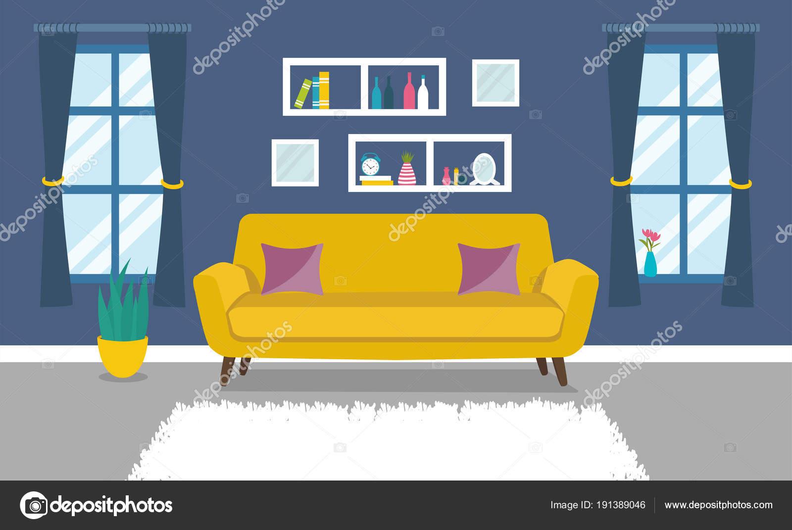 Modernes Design Wohnzimmer Interieur Gestaltung Der Zimmer Mit Einem ...