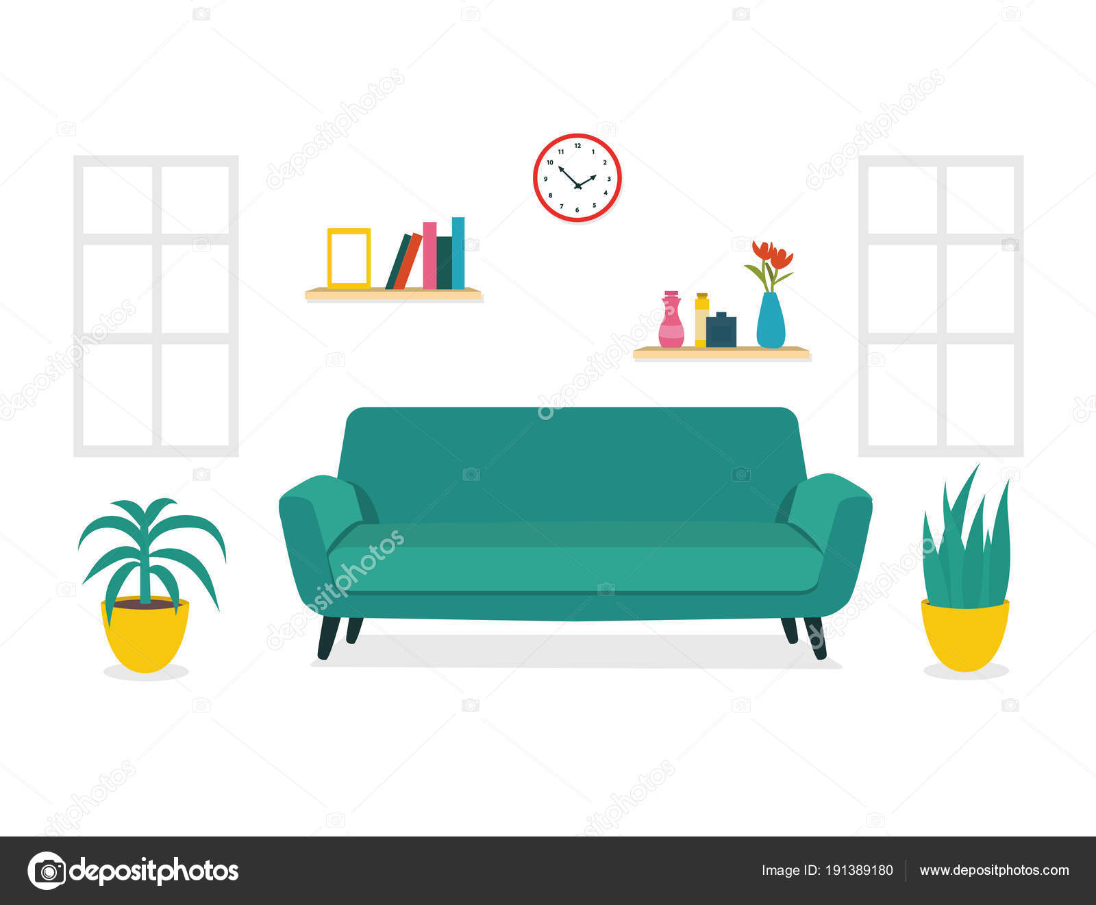 Modernes Design Wohnzimmer Interieur. Gestaltung Der Zimmer Mit Einem Sofa,  Fenster Und Einrichtung Zubehör U2014 Vektor Von OlenaHalahan