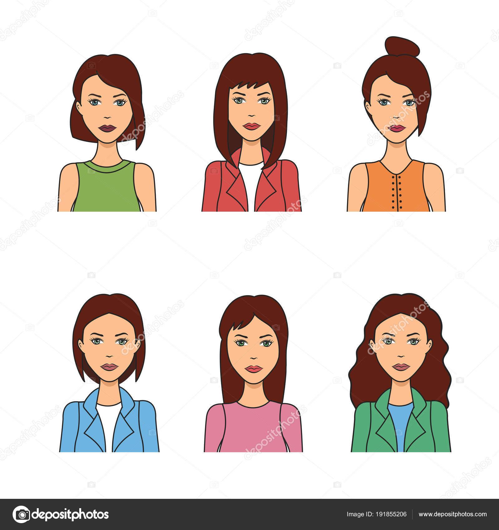 Set Women Hairstyles Woman Avatar Vector Illustration Girls