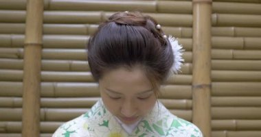 Pretty smiling Japanese woman in kimono