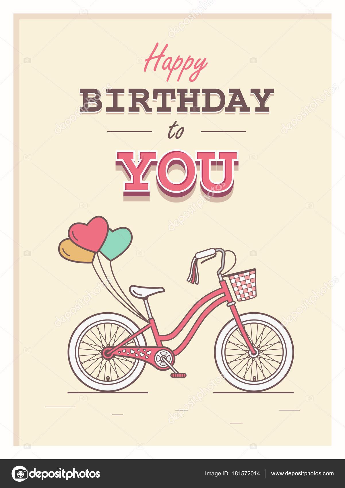 Buon Compleanno Cartolina Hipster Con Bicicletta Bambino Sfondo