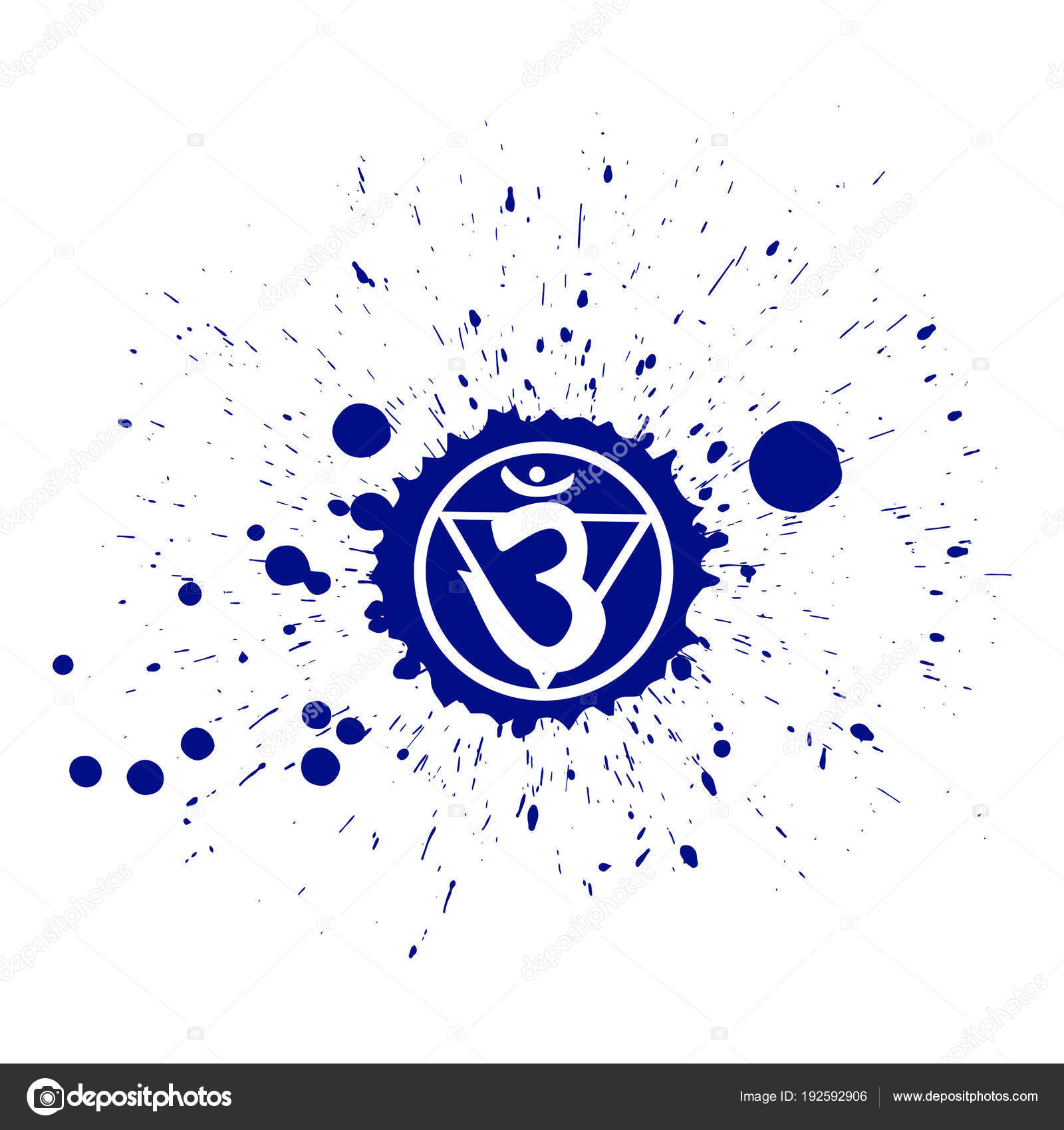 Ink Blot With Ajna Chakra Symbol Vector Illustration Stock Vector