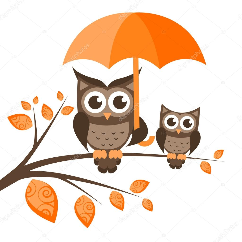 Two owls on the tree with umbrella