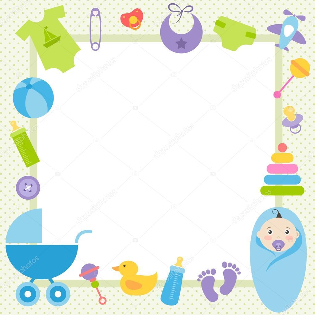 marco verde con elementos de bebé niño — Archivo Imágenes ...