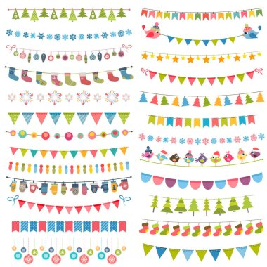 Christmas flags, bunting and garlands isolated on white