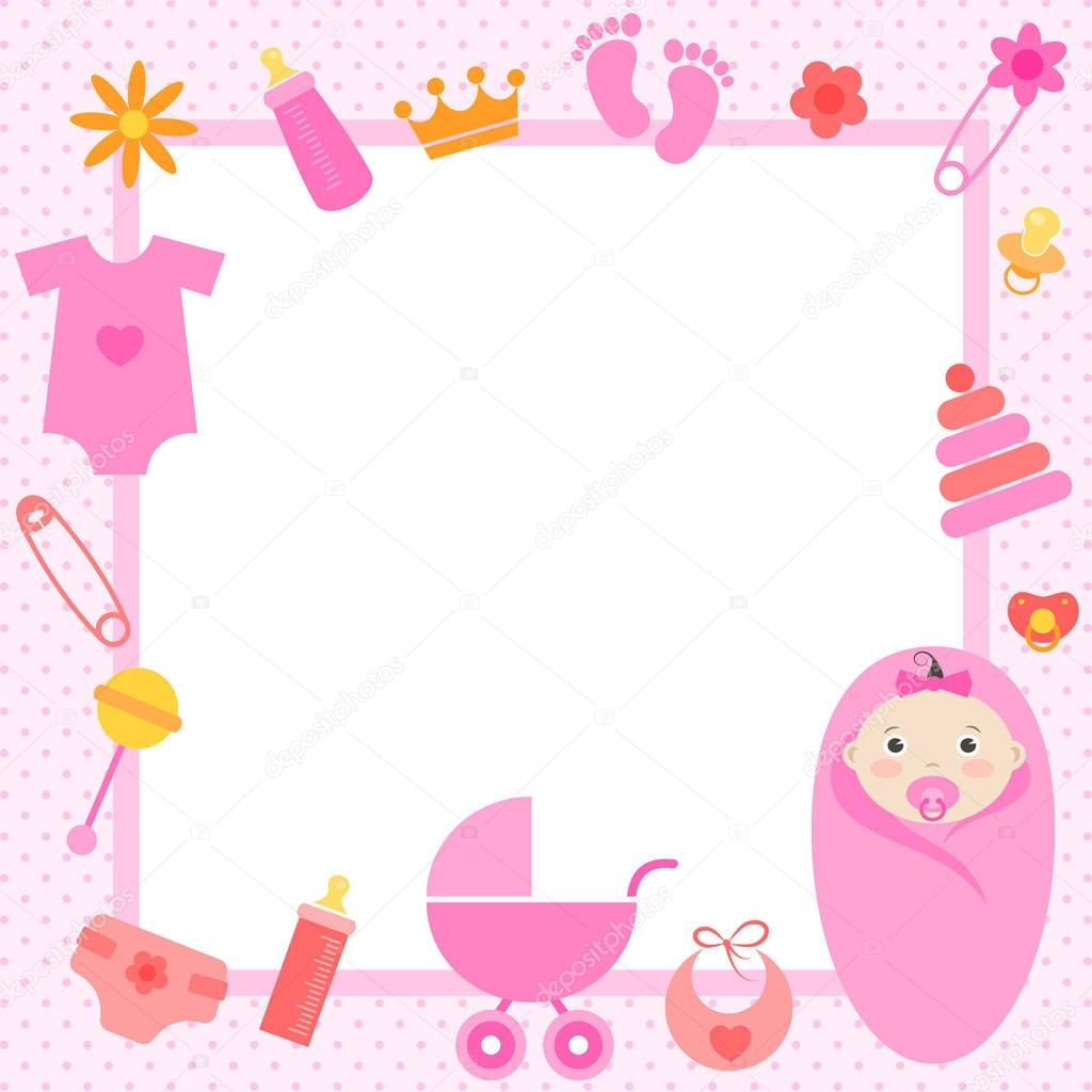 pink frame with baby girl elements — Stock Vector © Ann_Precious ...