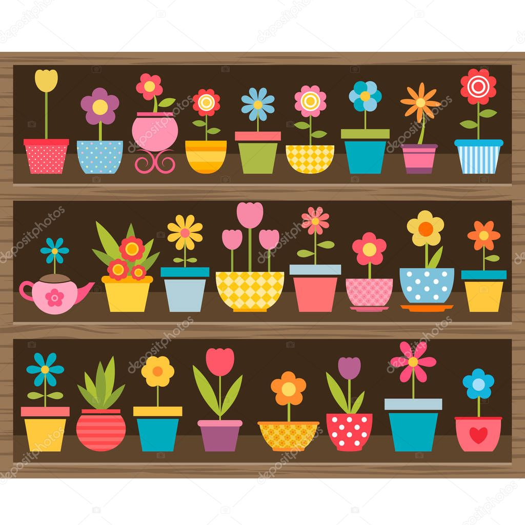 flowers in pots on wooden shelf