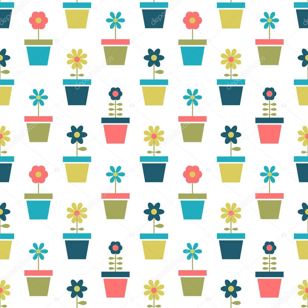 pattern with flowers in pots