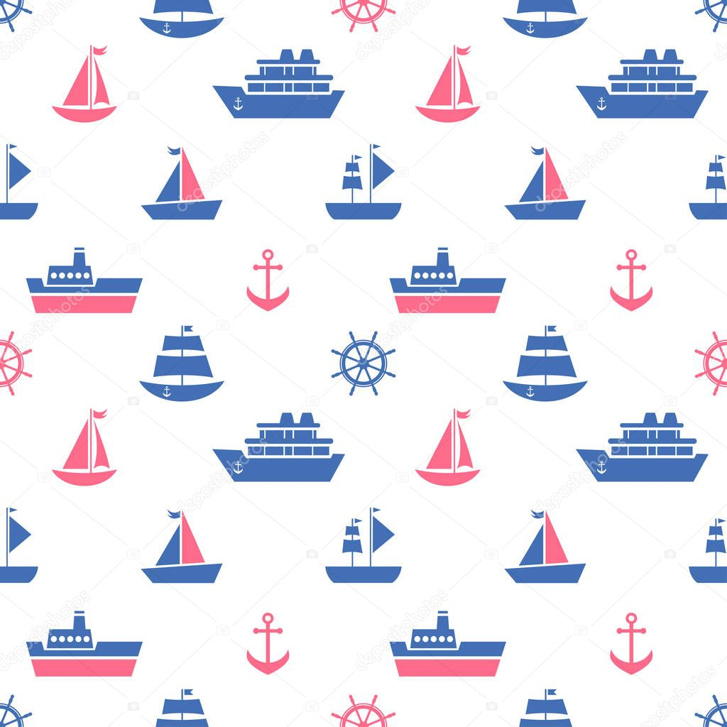 Seamless pattern with blue and red sea transport icons