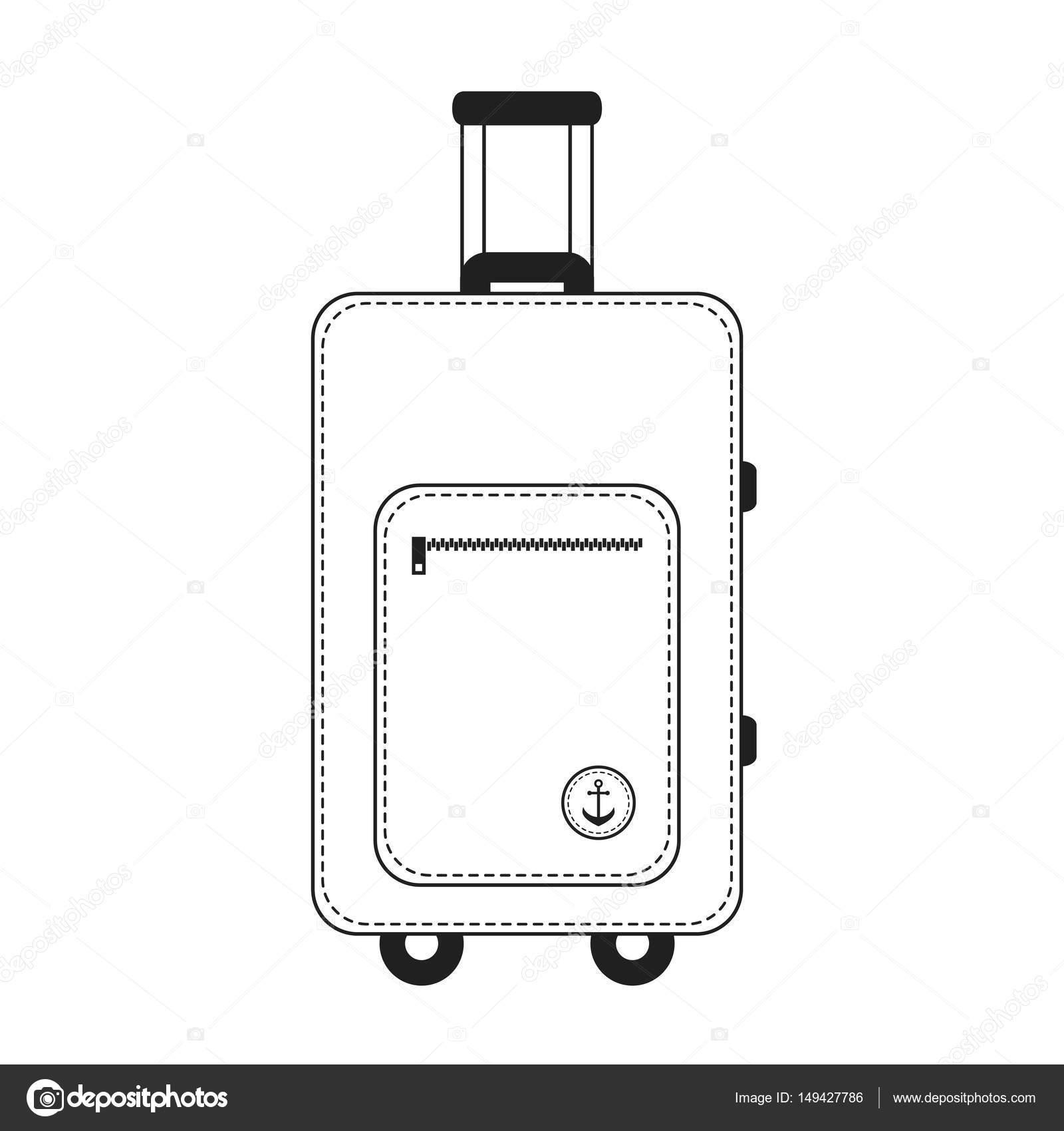 Weiße und schwarze Farbe Reisen Gepäck Koffer — Stockvektor ...