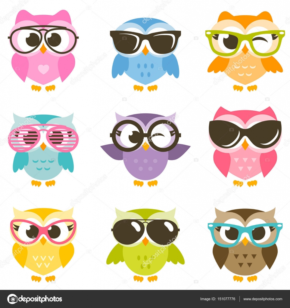 Set Of Colorful Owls With Sunglasses Stock Vector C Ann Precious