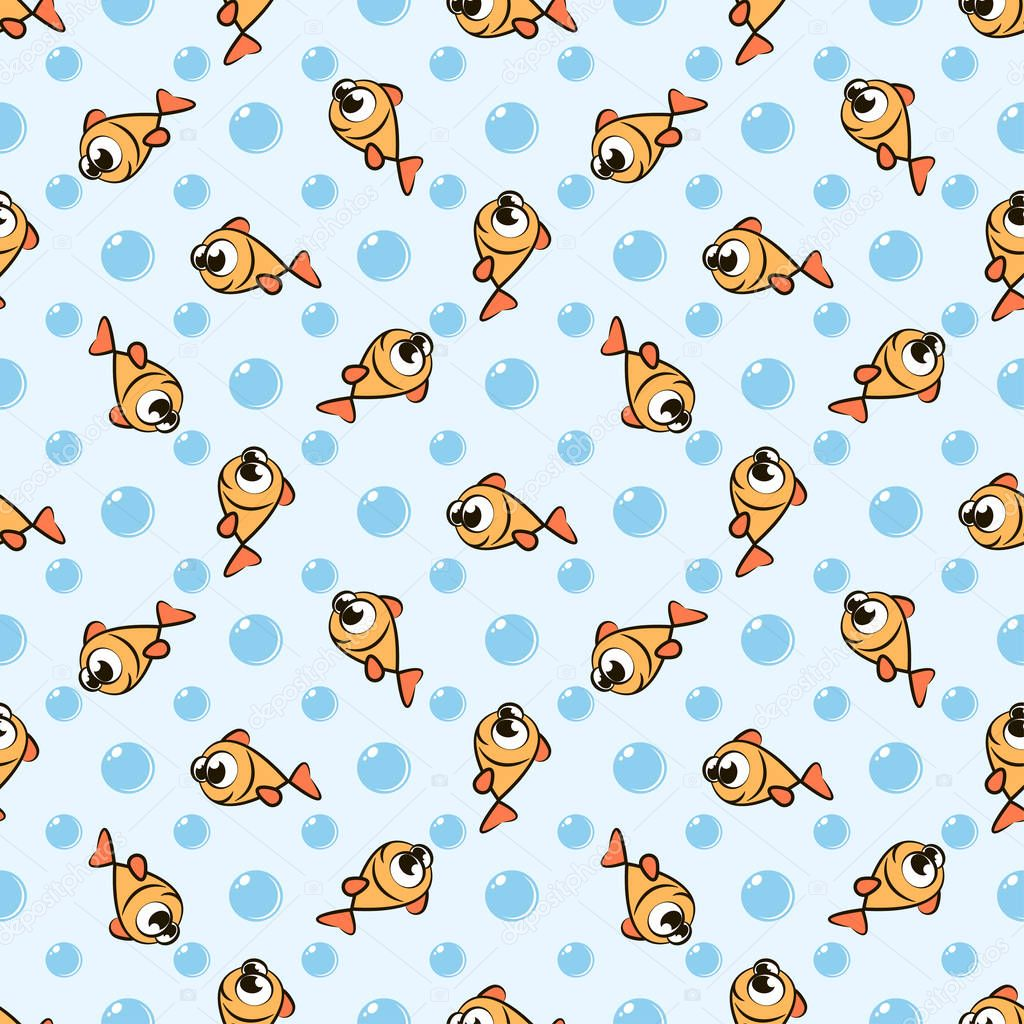 Seamless pattern with cute golden cartoon fish