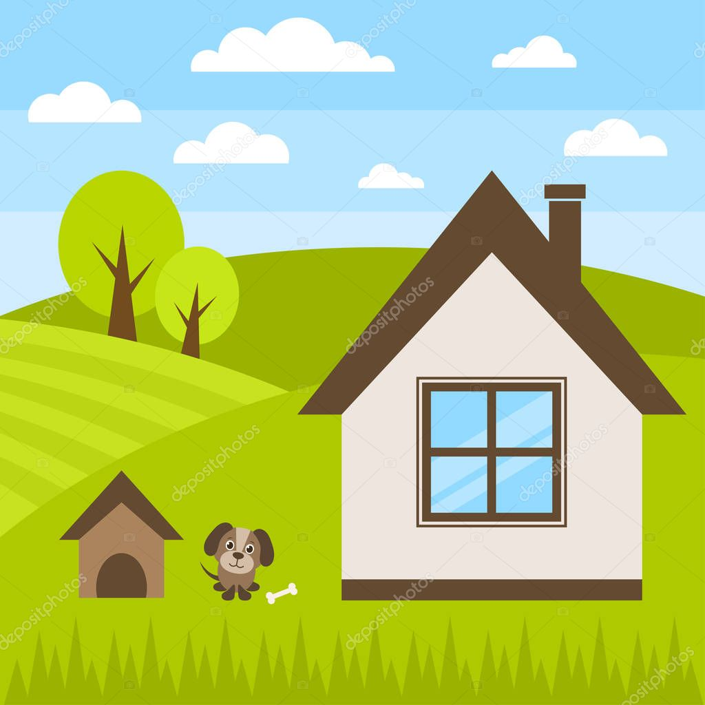 dog and house