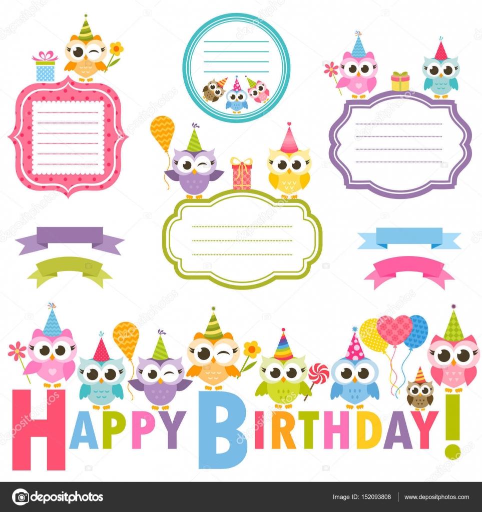 Marcos con búhos para tarjeta de cumpleaños — Vector de stock ...