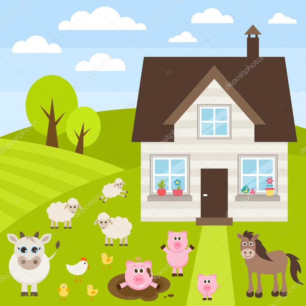 farm illustration with different animals