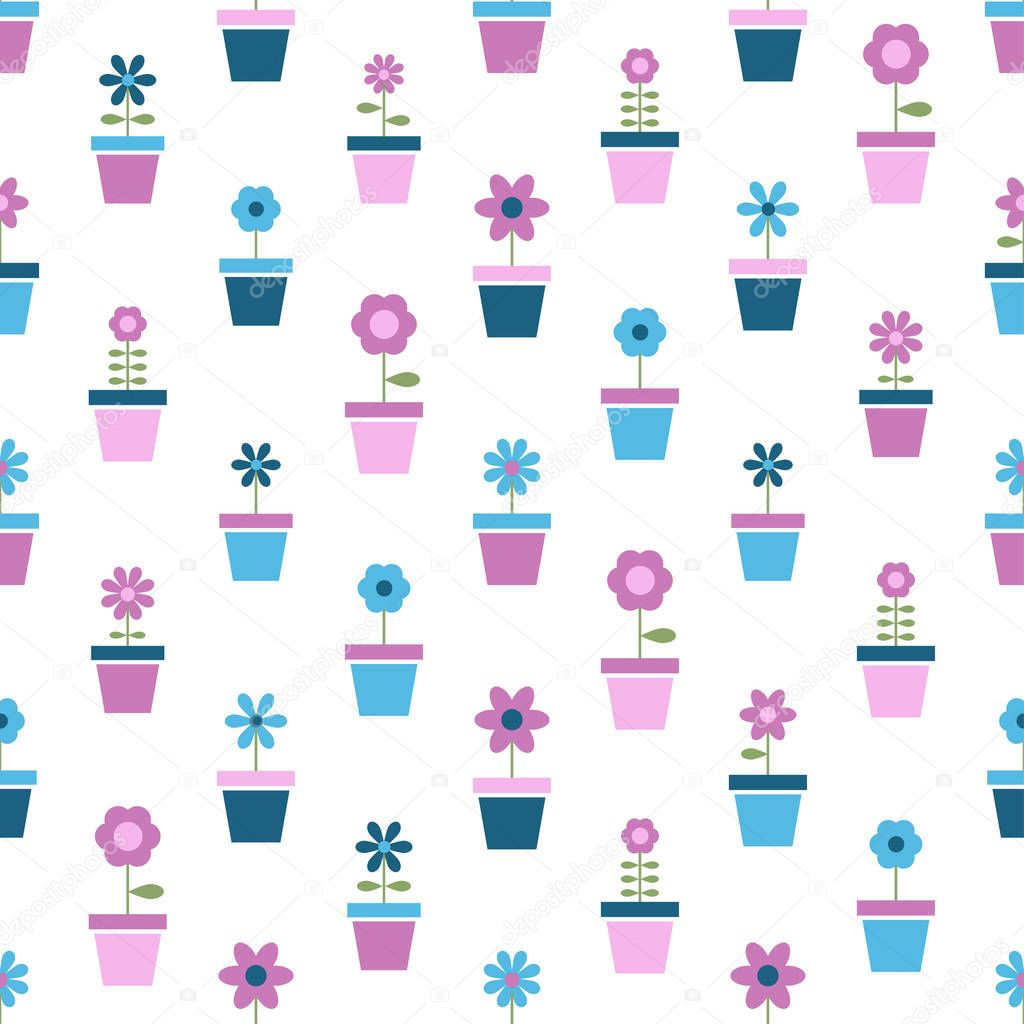 flowers in pots, seamless pattern