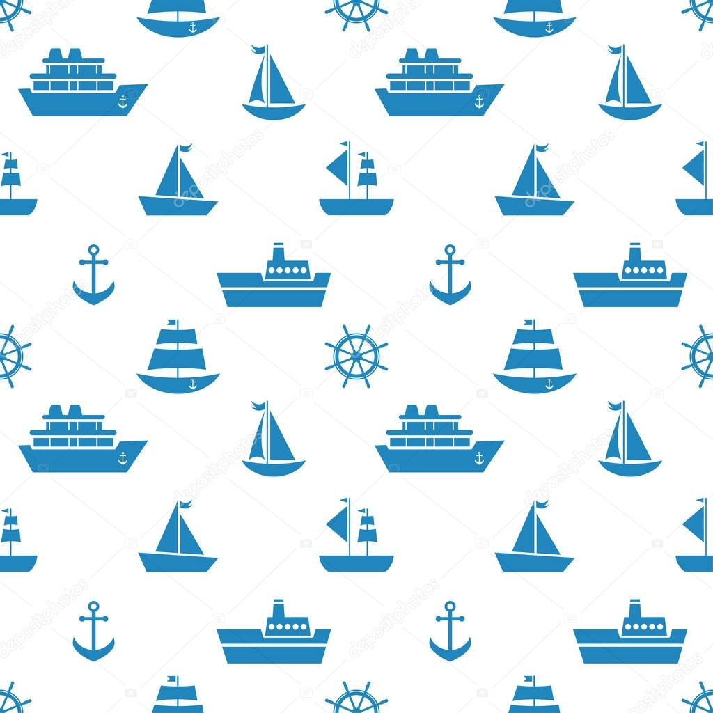 Seamless pattern with blue sea transport icons