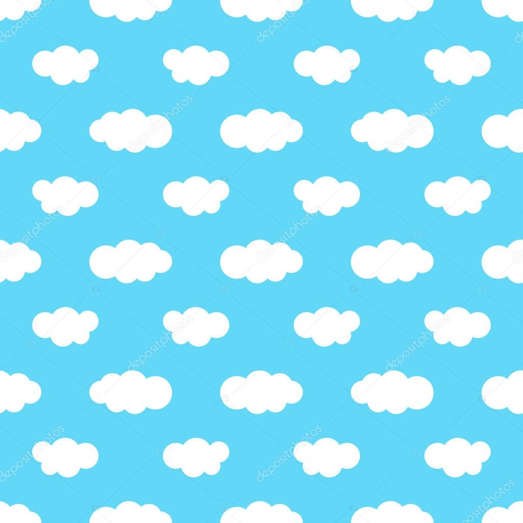 Seamless pattern with blue sky and white clouds