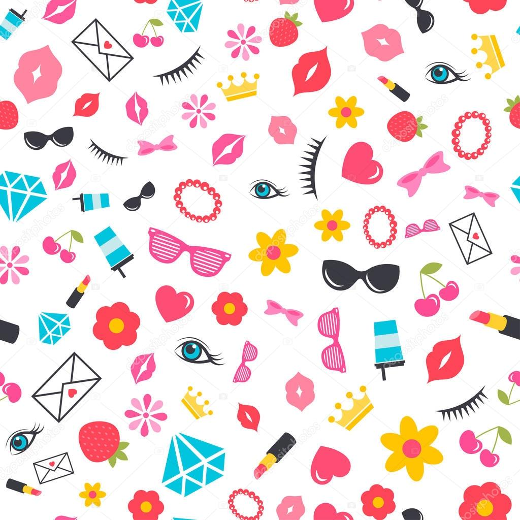 seamless pattern with stickers for girls