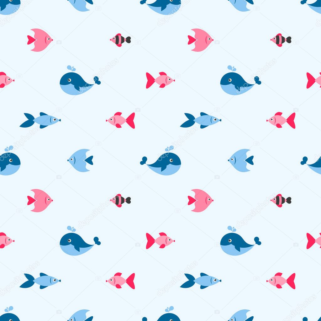 seamless pattern with cute fishes and whale