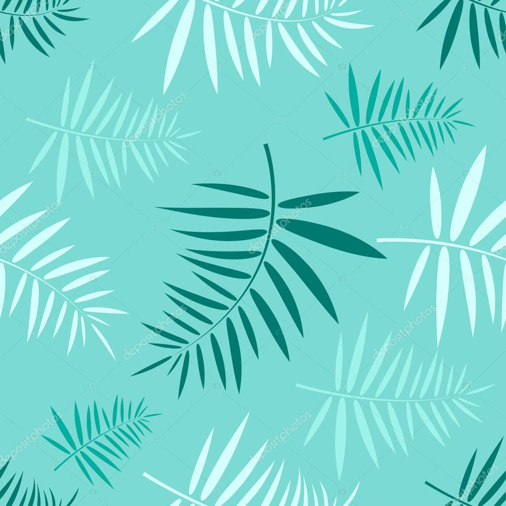 Seamless pattern with the green tropical leaves