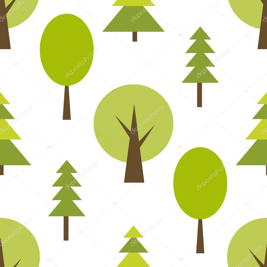 Pattern with green forest on white background