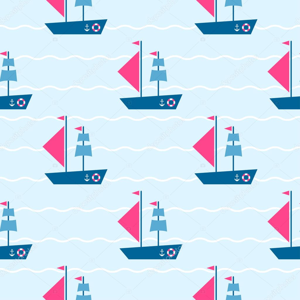 Pattern with boats on the sea