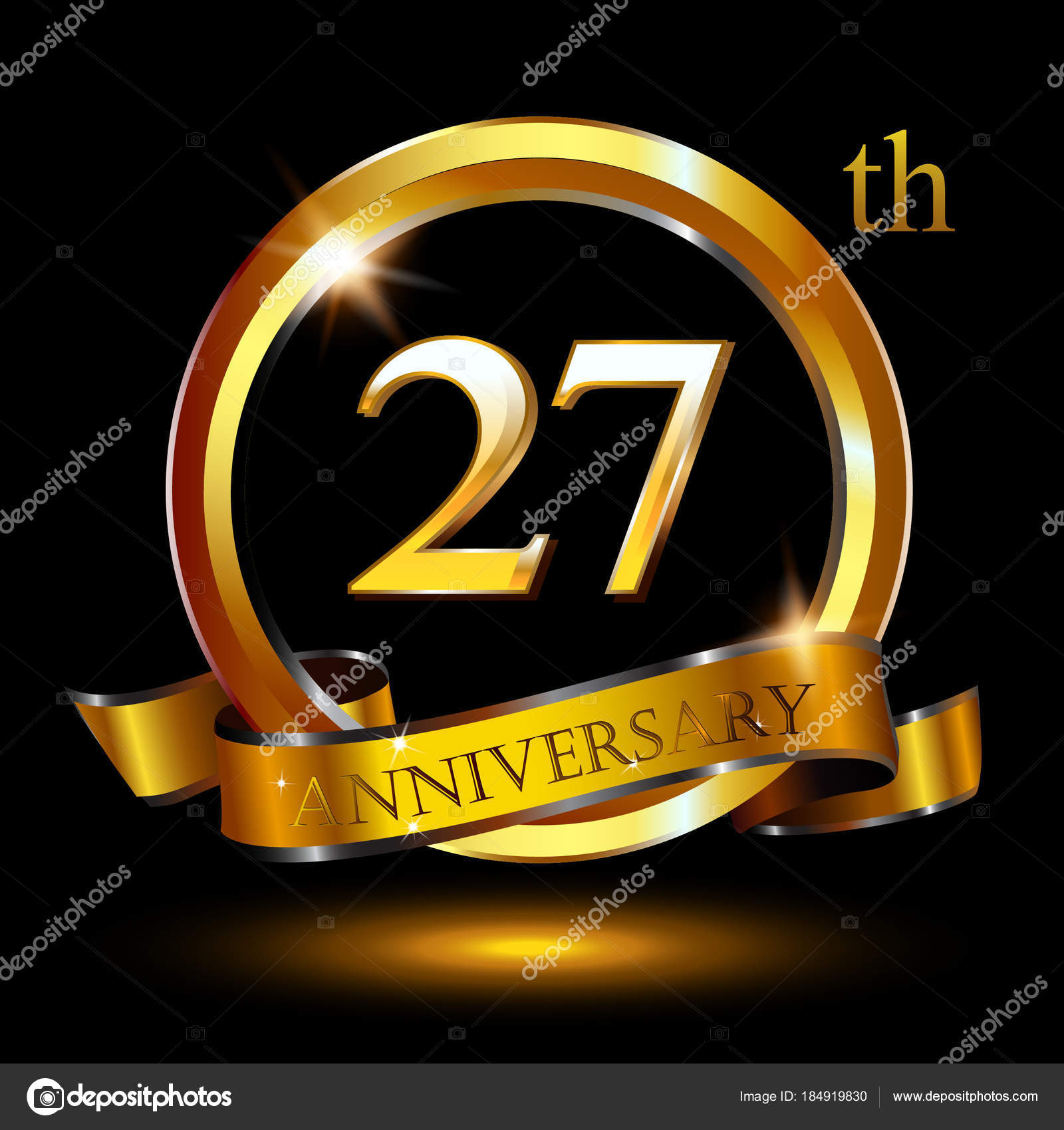 Logo design years anniversary white golden number black background logo design for 27 years anniversary with white and golden number on black background with shadow vector by vectorawesome biocorpaavc Images