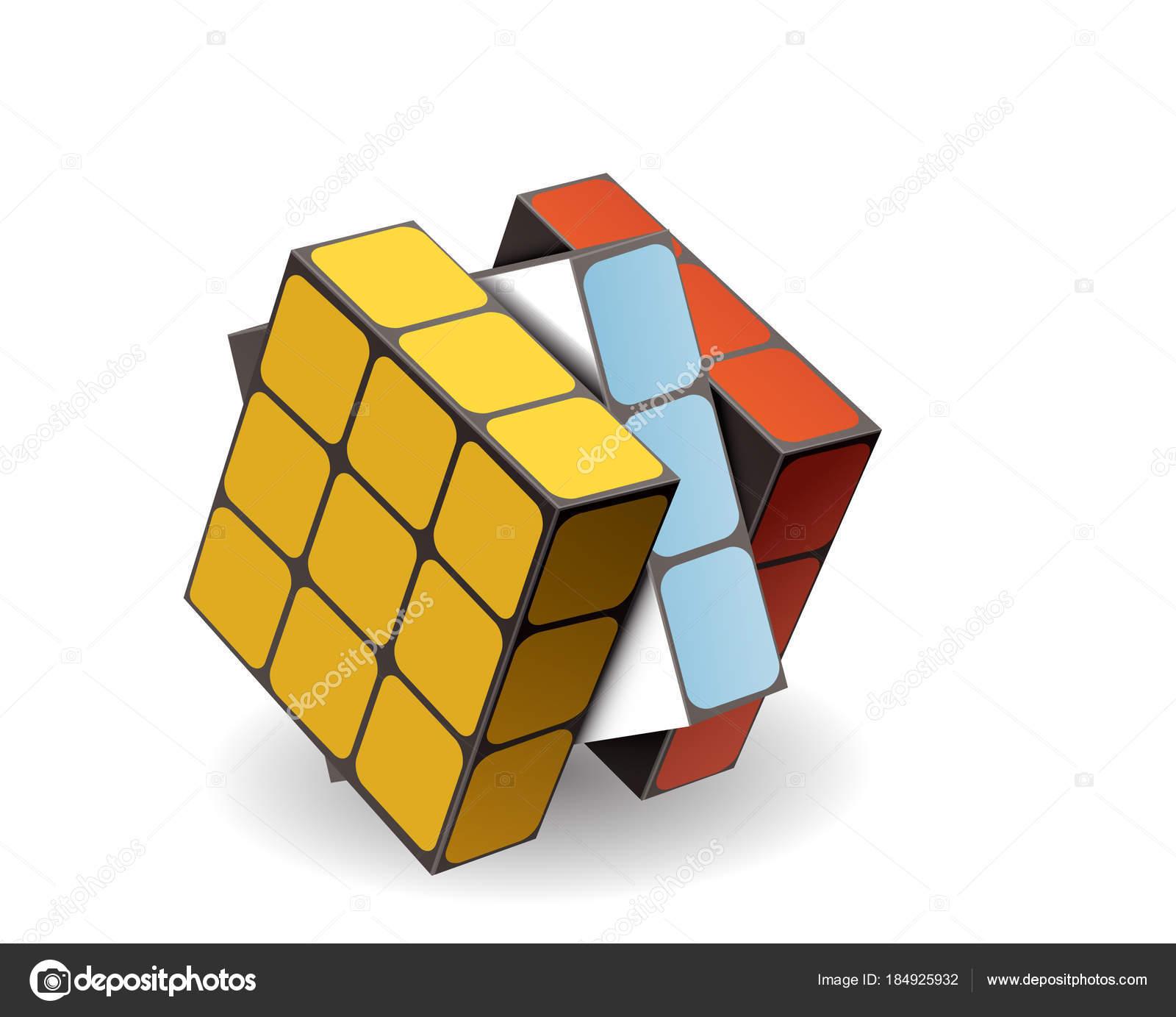 Rubik Cube Isol Sur Fond Blanc Vecteur Image Vectorielle