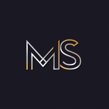 initial letters  ms  logo  on dark background