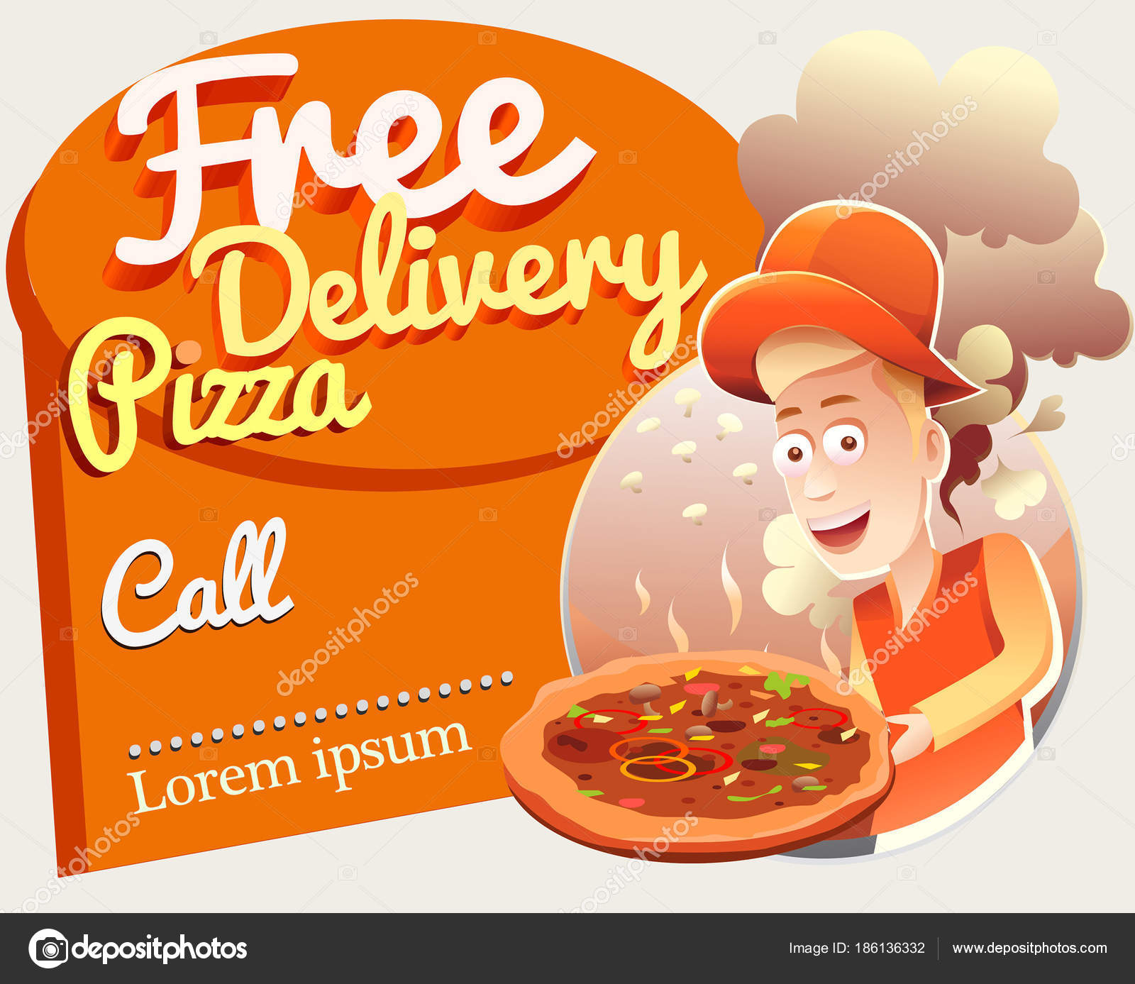 Free Delivery Pizza Template Courier Stock Vector Vectorawesome