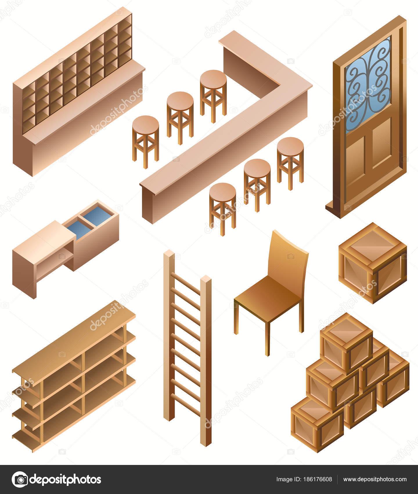 Conjunto ilustraci n vector isom trica muebles vector de for Stock de muebles