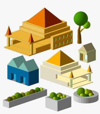 ancient  buildings, city, vector illustration