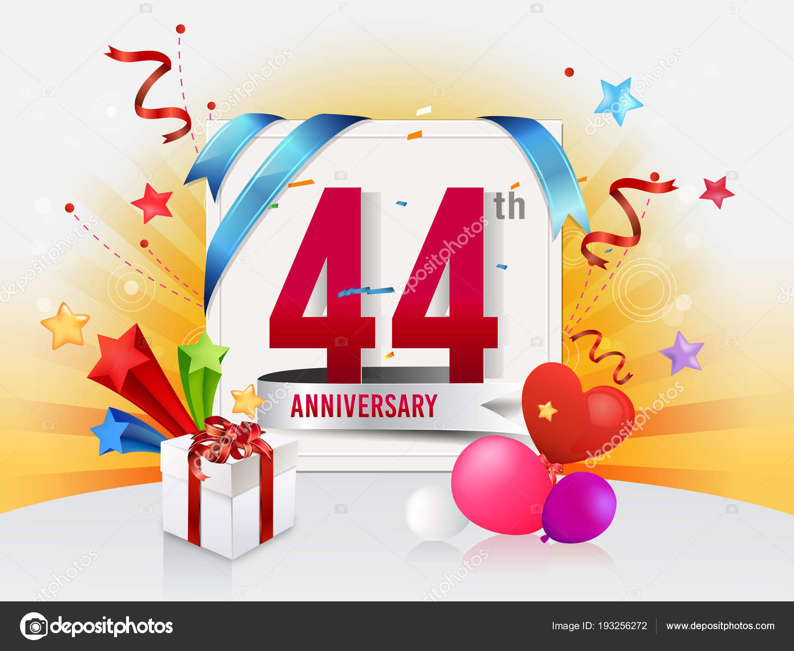 Anniversario Di Matrimonio 44 Anni.Years Anniversary Decorative Background Balloons Stock Vector