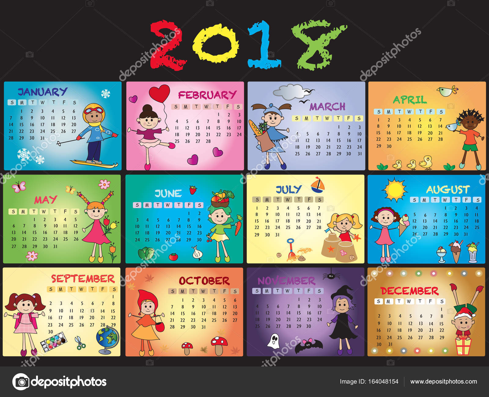 Calendar 2018 Printable Colorful