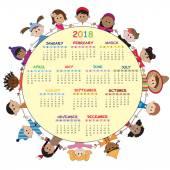 Kalender 2018 mit glücklichen Kindern